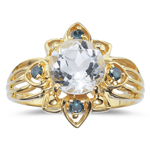 0.12 Cts Blue Diamond & 2.50 Cts White Zircon Ring in 14K Yellow Gold