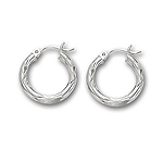 Gold Shinny Diamond Cut 3 mm Round Tube Hoop Earrings in 14K White Gold (15 mm)