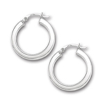Gold  Shiny Square Tube Hoop Earrings in 14K White Gold