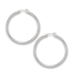 2 mm Gold Classic Hoop Earrings in 14K White Gold (50 mm)