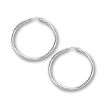 2 mm Gold Classic Hoop Earrings in 14K White Gold (40 mm)
