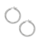 2 mm Gold Classic Hoop Earrings in 14K White Gold (30 mm)