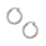 2 mm Gold Classic Hoop Earrings in 14K White Gold (25 mm)