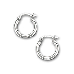 2 mm Gold Classic Hoop Earrings in 14K White Gold (15 mm)
