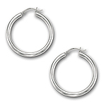 4 mm Gold Classic Hoop Earrings in 14K White Gold (40 mm)