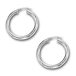 4 mm Gold Classic Hoop Earrings in 14K White Gold (30 mm)