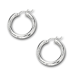 4 mm Gold Classic Hoop Earrings in 14K White Gold (25 mm)