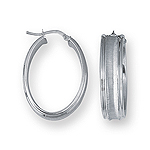 Gold Grooved Oval Hoop Earrings in 14K White Gold