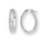Gold Textured Oval Hoop Earrings in 14K White Gold