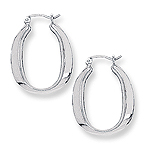 Graduated Puffed Open Oval Square Tube Hoop Earrings in 14K White Gold