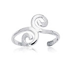 Swirl Gold Toe Ring in 14K White Gold