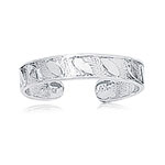 Shiny Cuff Type Leaf Pattern Gold Toe Ring in 14K White Gold