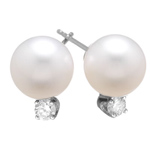 0.15 Cts Diamond & 10-10.5 mm White Akoya Cultured Pearl (AAA) Earrings in 18K White Gold