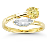 0.80 Ct Yellow Sapphire & 0.80 Ct White Sapphire Ring- 14K Yellow Gold