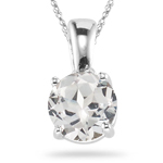 1.05 Cts of 6 mm AA Round White Sapphire Solitaire Pendant in 14K White Gold