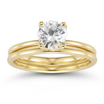 0.95 Cts White Sapphire Engagement & Wedding Ring Set in 14K Yellow Gold