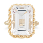 20.00 Cts of 18x13 mm AA Emerald Cut White Topaz Solitaire Ring in 14K Yellow Gold
