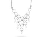 Fancy Pearl Necklace in 14K White Gold