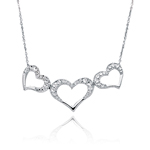 Triple Heart Movable Pendant in 14K White Gold