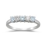 1/5 Cts VS Diamond and 0.33 Cts Aquamarine Ring in 18K White Gold