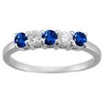 0.60 Cts VS Diamond & Blue Sapphire Five-Stone Ring in 18K White Gold
