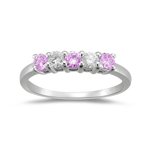 0.20 Cts Diamond & 0.39 Cts AA Pink Sapphire Ring in 18K White Gold