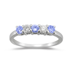 1/5 Cts VS Diamond & 0.33 Cts Tanzanite Ring in 18K White Gold