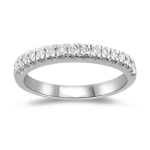 0.16 Cts VS2 Round Diamond Wedding Band in 18K White Gold