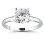 1.29 Cts White Sapphire Solitaire Ring in 14K White Gold