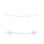 White Round Pearls By The Yard Necklace in 14K White Gold