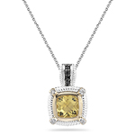1.55 Ct Black & White Diamond & Yellow Beryl Pendant-Silver-Pink Gold