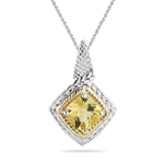 1.29 Ct of 7 mm AA Cushion Checker Board Yellow Beryl Pendant in Yellow Gold & Silver