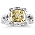 0.12 Ct Diamond & 1.15-1.40 Cts AAA Yellow Beryl Ring in 14K Gold & Silver