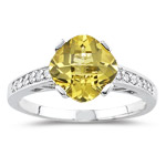 0.12 Cts Diamond & 1.75 Cts Yellow Beryl Ring in 14K White Gold