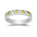 2/5 Ct Yellow Diamond & White Diamond Ring in 14K White Gold