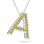 0.27 Cts Yellow Diamond A Initial Pendant in 14K White Gold