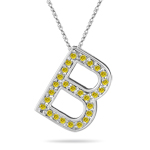 0.27 Cts Yellow Diamond B Initial Pendant in 14K White Gold