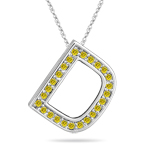 1/4 Cts Yellow Diamond D Initial Pendant in 14K White Gold