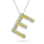 0.30 Cts Yellow Diamond E Initial Pendant in 14K White Gold