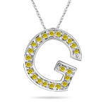 0.27 Cts Yellow Diamond G Initial Pendant in 14K White Gold