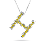 0.26 Cts Yellow Diamond H Initial Pendant in 14K White Gold