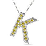 1/4 Cts Yellow Diamond K Initial Pendant in 14K White Gold
