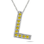 1/4 Cts Yellow Diamond L Initial Pendant in 14K White Gold