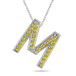 0.26 Cts Yellow Diamond M Initial Pendant in 14K White Gold