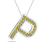 0.26 Cts Yellow Diamond P Initial Pendant in 14K White Gold