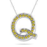 0.26 Cts Yellow Diamond Q Initial Pendant in 14K White Gold