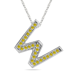 1/4 Cts Yellow Diamond W Initial Pendant in 14K White Gold