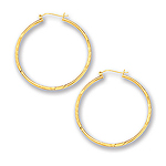 2 mm Gold Diamond Cut Shinny Hoop Earrings in 14K White Gold (45 mm)