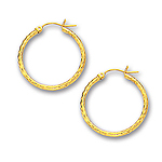 2 mm Gold Diamond Cut Shinny Hoop Earrings in 14K White Gold (25 mm)