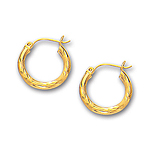 3 mm Diamond-Cut Gold Huggie Earrings in 14K Yellow Gold (15 mm)